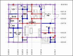 長期荷重(建物の重さのバランス確認)